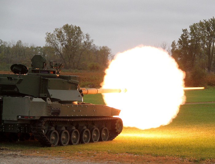 General Dynamics Griffin vehicle firing on a range.