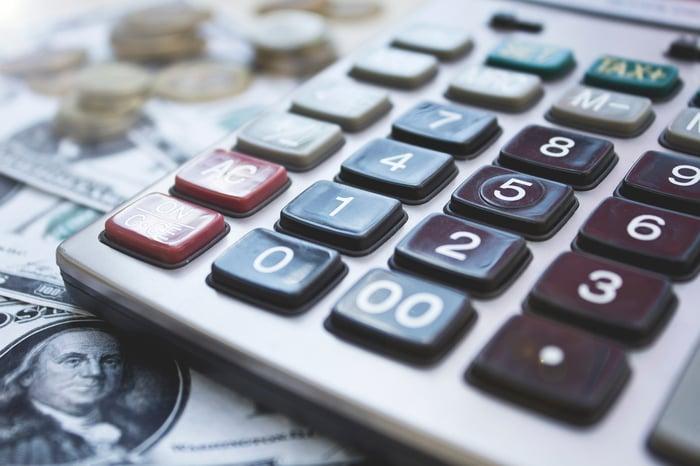 Calculator on top of $100 bills