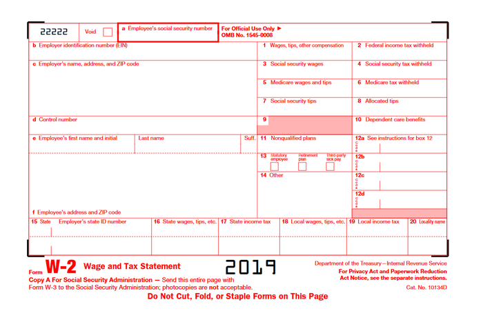 IRS Form W-2 in red and black.
