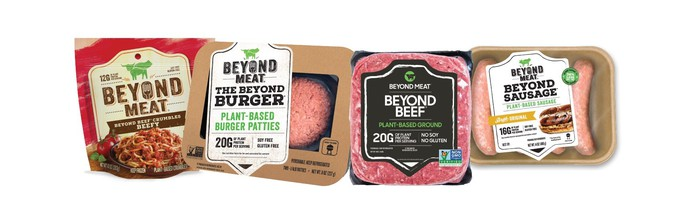 A sample of some of Beyond Meat's products.