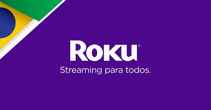 A Roku ad in the colors of the Brazilian flag reading Streaming para todos, which translates to Streaming for all.