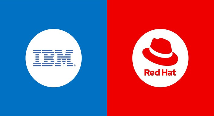 The corporate logos for IBM and Red Hat side by side, each in the commensurate blue and red colors.