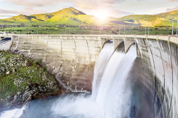 A hydropower project operates.