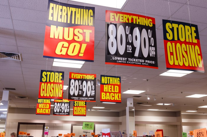 Multiple store closing signs hanging from store ceiling