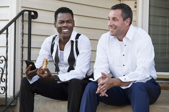 Chris Rock and Adam Sandler in a scene from Netflix's Week Of movie.