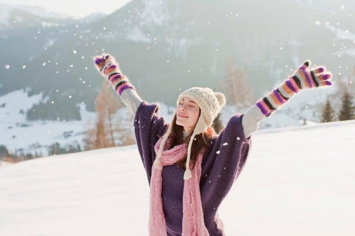 Woman outside enjoying the snow
