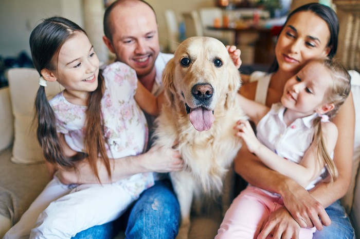 A happy family of four seated on a couch, with their dog in the middle.