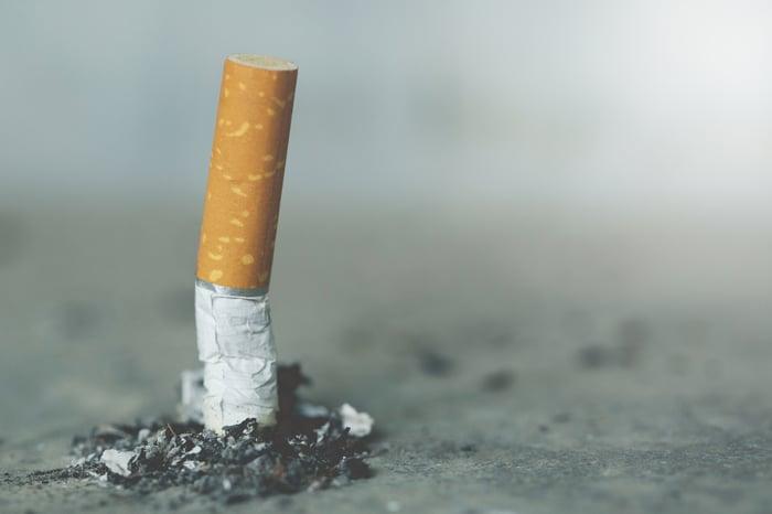 Stubbed out cigarette butt