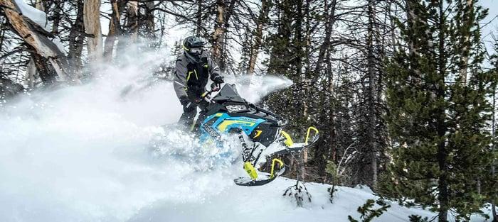 Polaris snowmobile going airborne