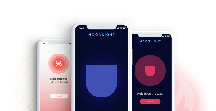 Three smart phones showing various emergency notifications within the Noonlight app.