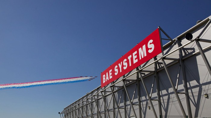 Signage outside of a BAE Systems facility.