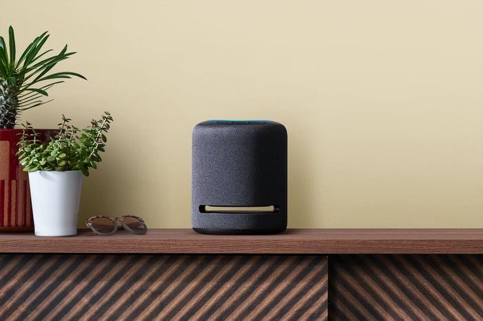 Amazon's Echo Studio on a cabinet.