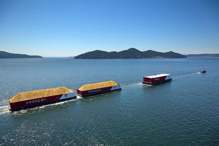 A line of container ships sail past some islands.