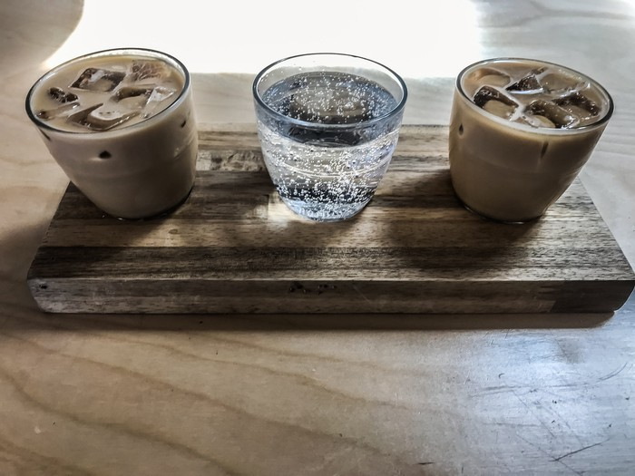Three glasses of coffee and seltzer drinks