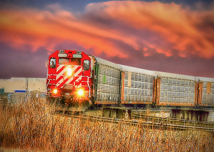 A freight train heading through grassland, with a sunset in the background