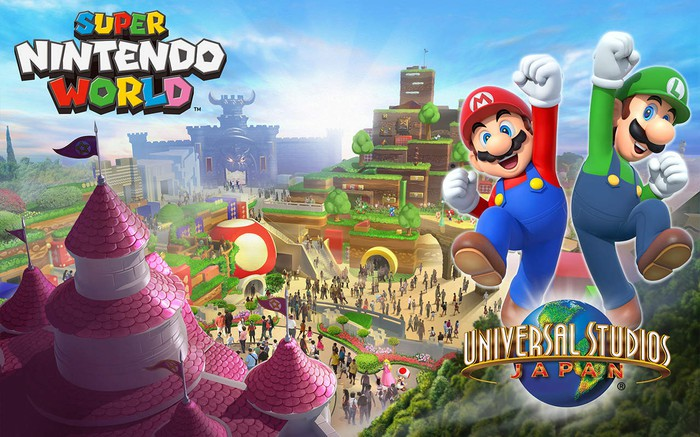 Concept art for Super Nintendo World at Universal Studios Japan with Mario and Luigi celebrating.