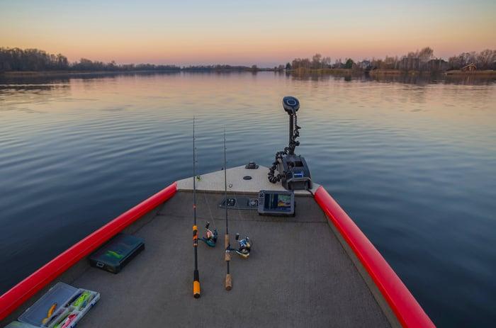 Garmin fishfinder in boat on lake