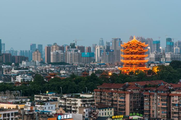 The skyline of Wuhan, China