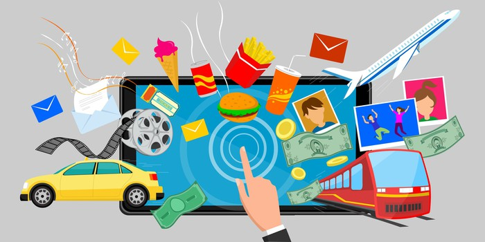 Collage of common goods and services - cars, fast food, planes, and money - emerging from a computer screen