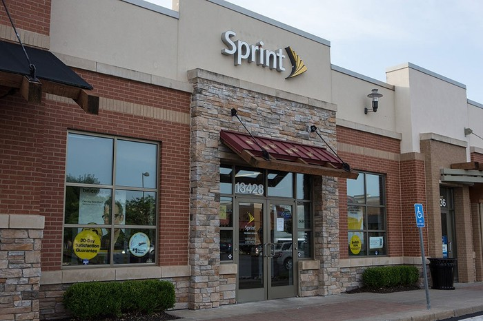 Exterior shot of a Sprint store in California.