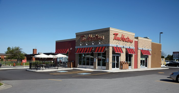 Tim Hortons location on a sunny day.