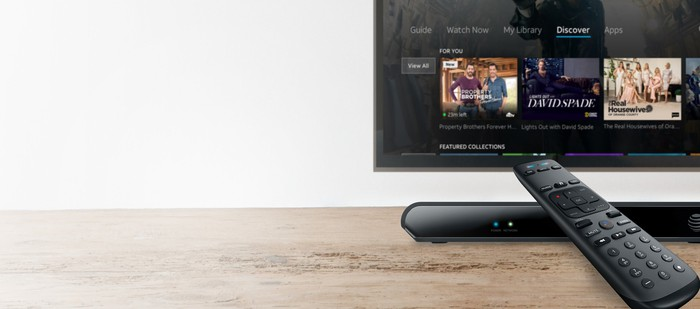 The AT&T TV set-top box and a TV displaying the home screen