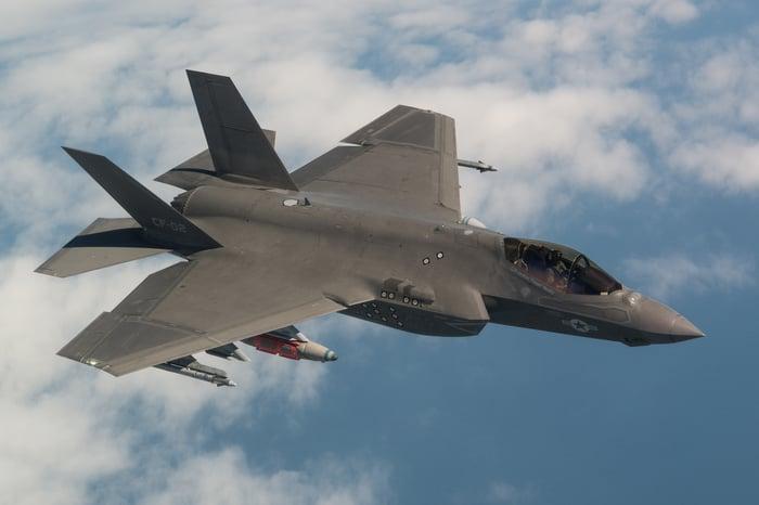 An F-35 in flight.