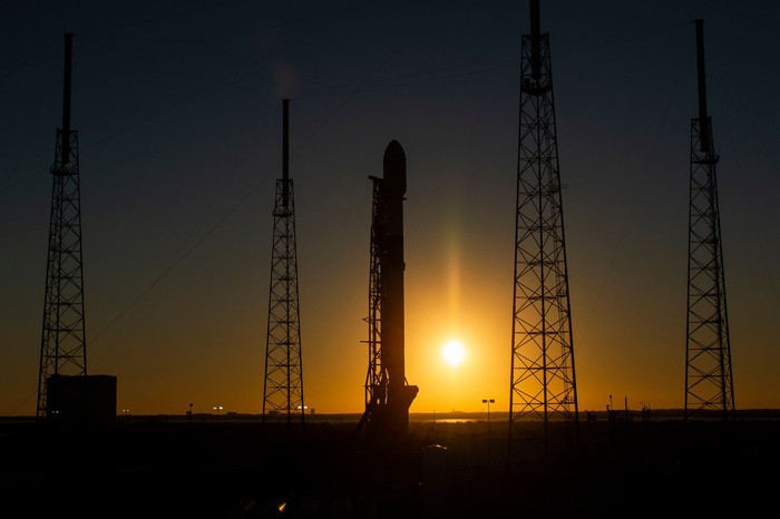 Starlink-4 rocket on its launch pad this morning