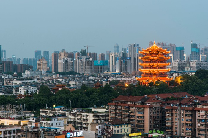 The skyline of Wuhan, China.