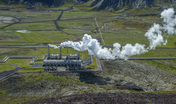 A geothermal plant produces power.