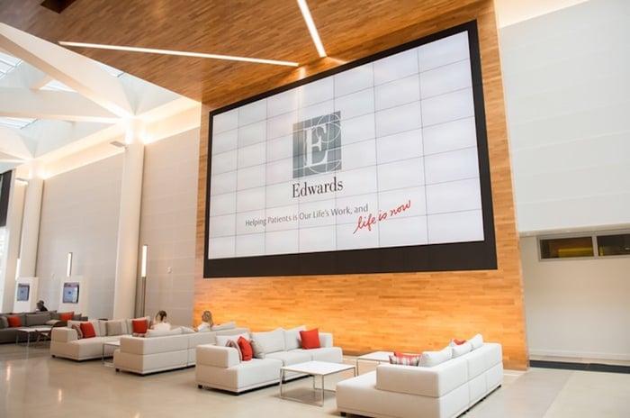 Lobby of Edwards Lifesciences building.