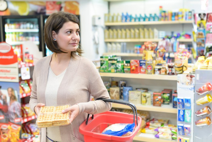 Woman shopping in grocery store.