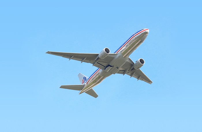 American Airlines aircraft in flight.
