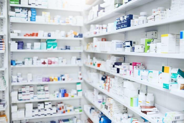 Produits pharmaceutiques en pharmacie.