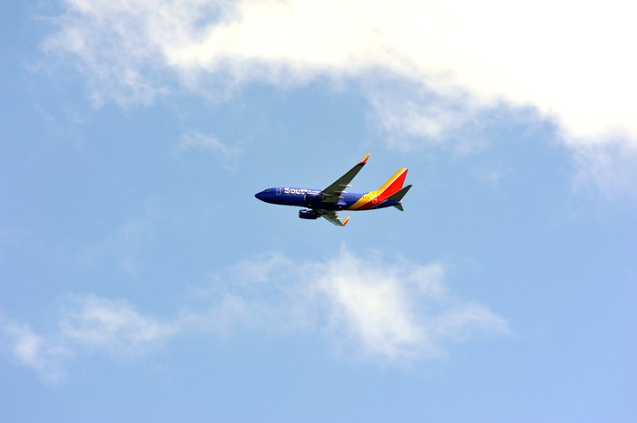 A Southwest aircraft in flight