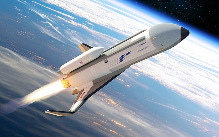 Artist's depiction of Phantom Express spaceplane flying into space with the Earth in the background