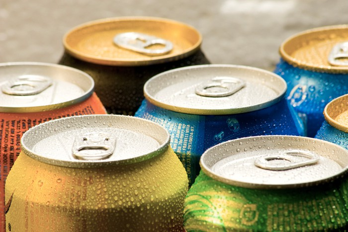 Chilled canned drinks.