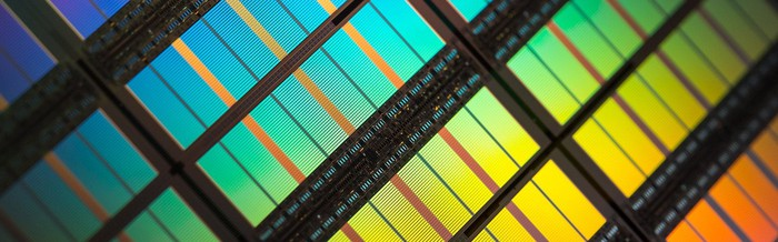 Semiconductor chips on a single wafer.