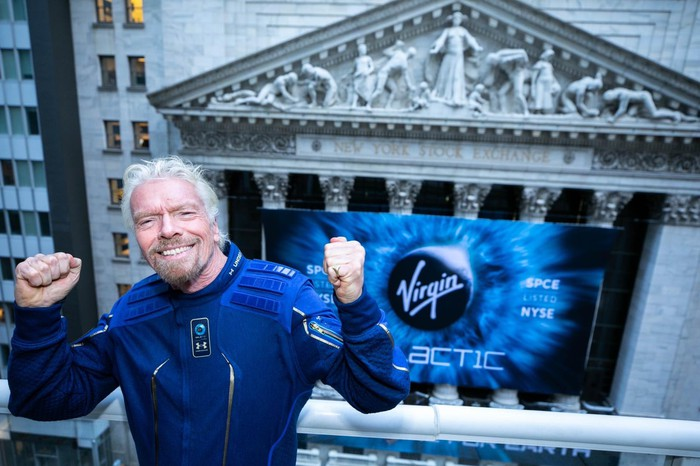 Sir Richard Branson cheering at Virgin's NYSE debut