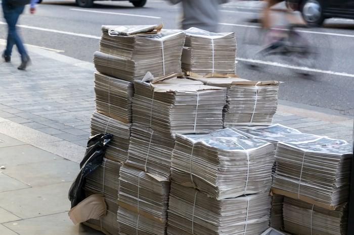 Stacks of bundled newspapers