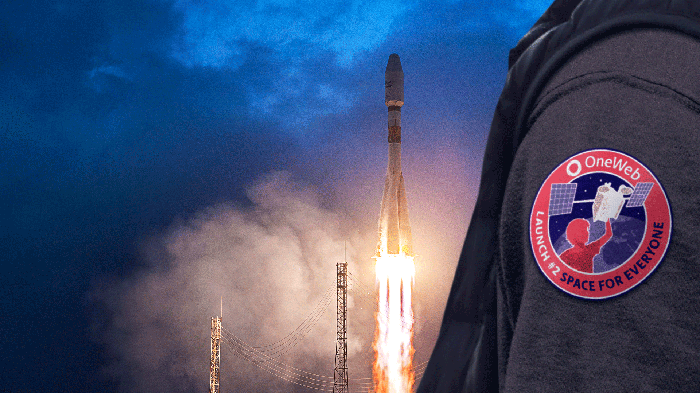 OneWeb launch patch with a OneWeb rocket launching in the background