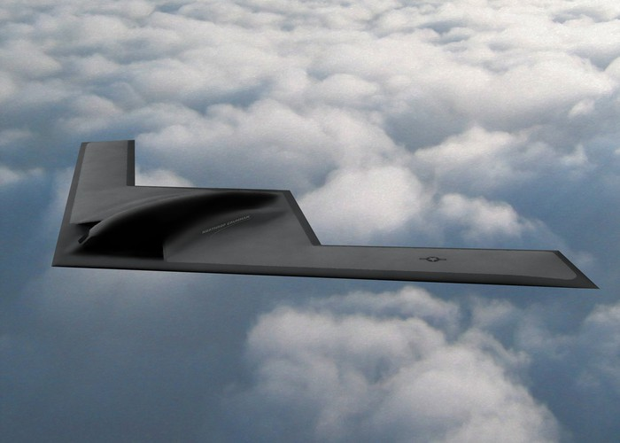 An artist rendering of the B21 bomber in flight