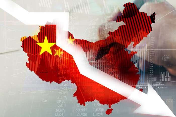 A falling stock market graph arrow on map of China.