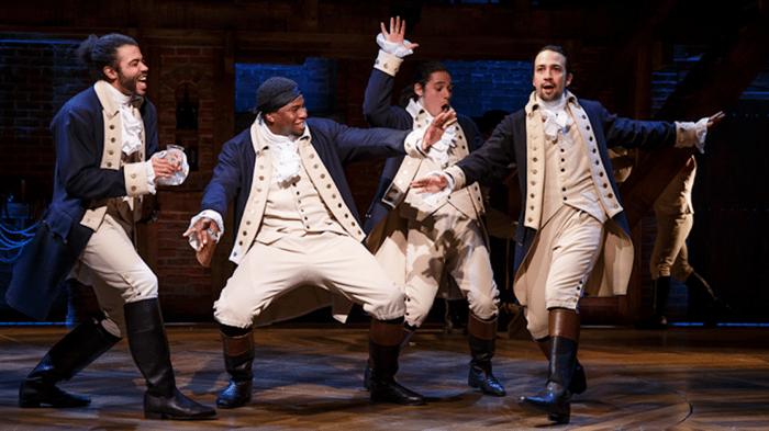 Lin-Manuel Miranda as Alexander Hamilton, alongside three of his fellow leaders of the American revolution, from the Broadway show Hamilton.