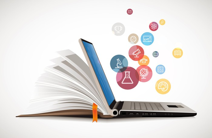 "A laptop ""transforms"" into a textbook for e-learning."