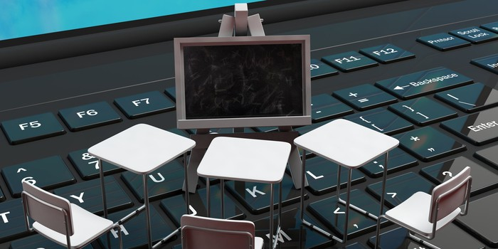 Tiny chairs and a blackboard, placed on a laptop keyboard.