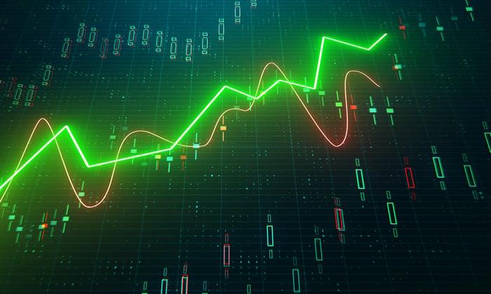 A glowing green arrow climbs higher on a digital stock screen
