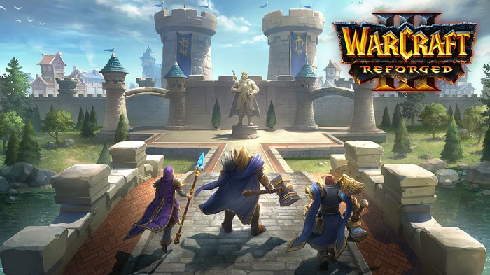 Art from Warcraft III: Reforged showing three characters crossing a bridge toward a castle.