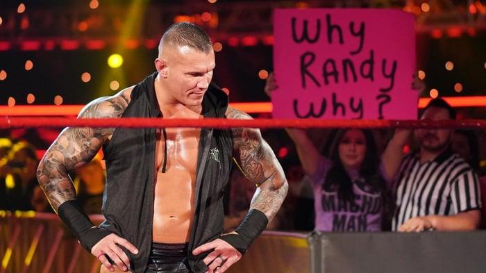 WWE wrestler Randy Orton posing in the ring during Monday Night Raw on Feb. 3, 2020.