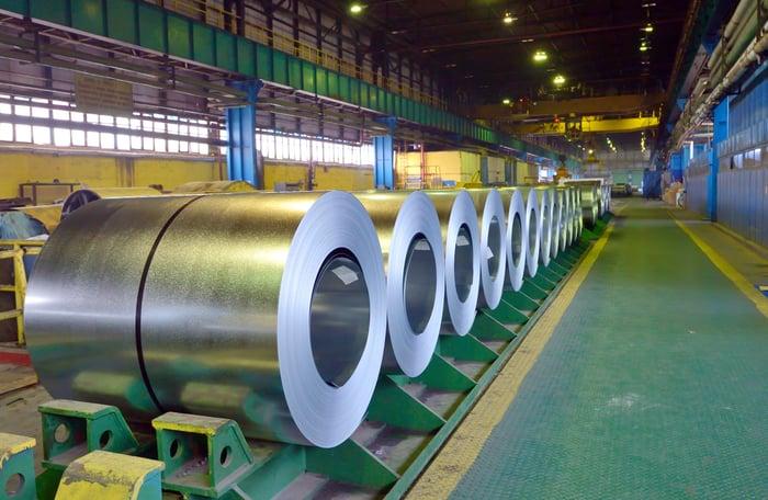Galvanized steel coils in a storage building